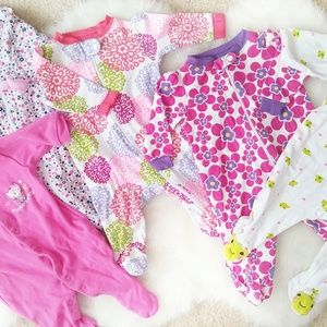 Other - 5 baby girl footies pajamas 0 to 3 months bundle